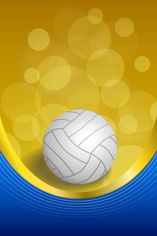 Ленты золота шарика волейбола предпосылки иллюстрация рамки абстрактной голубой желтой белой вертикальная иллюстрация штока