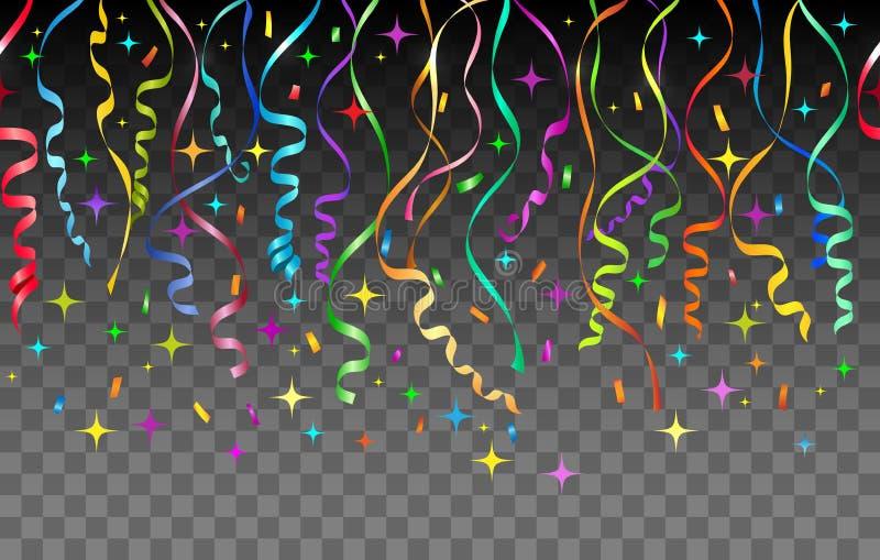 Ленты и предпосылка confetti прозрачная иллюстрация вектора
