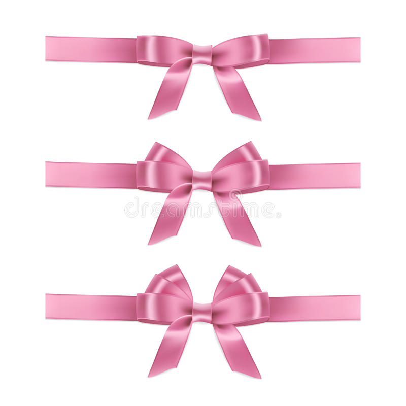 Ленты и смычки вектора реалистические розовые бесплатная иллюстрация