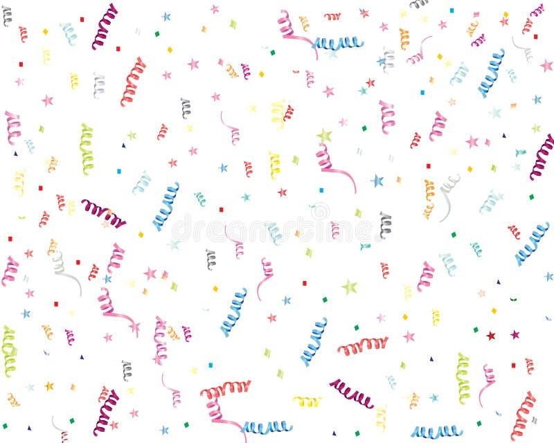 Ленты и confetti партии иллюстрация вектора