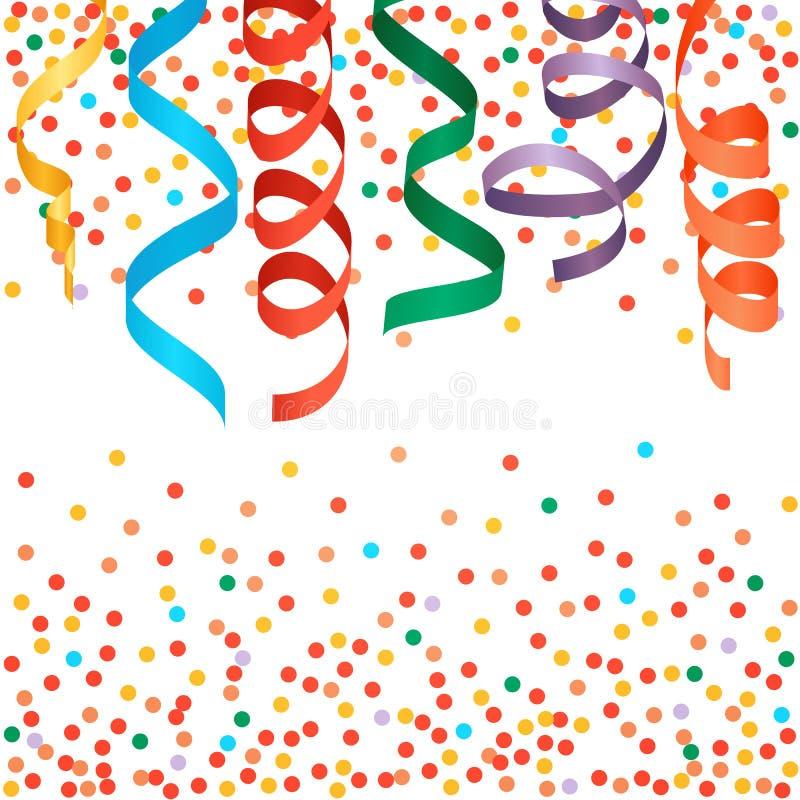 Ленты масленицы и предпосылка confetti иллюстрация вектора