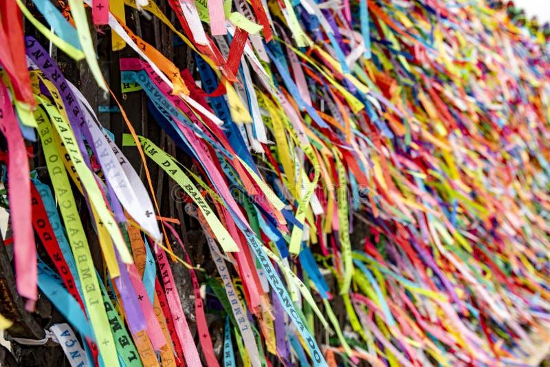 Ленты нашего лорда Bonfim Бахи, самый лучший известный символ города Сальвадора стоковые изображения