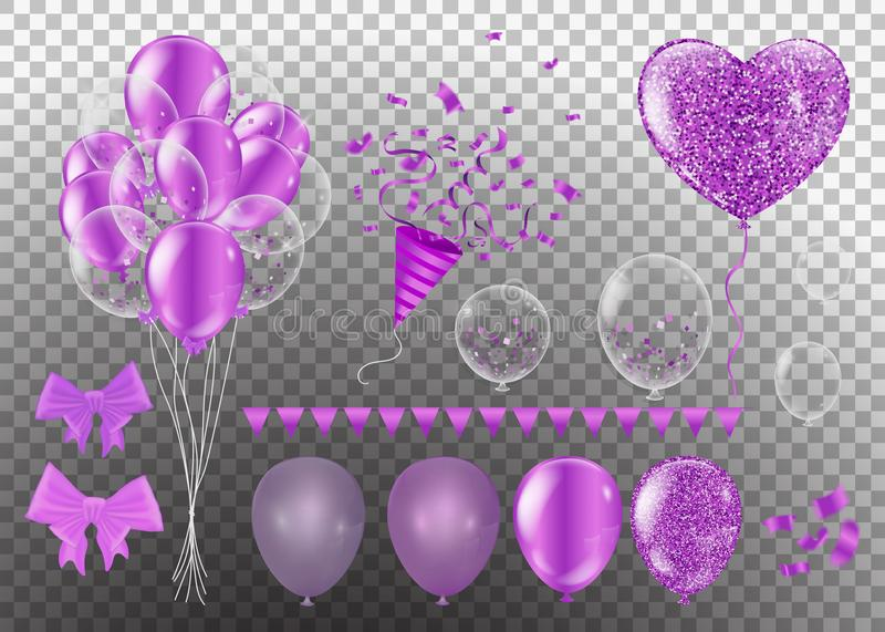 Ленты пурпура Confetti и комплекта пук иллюстрации дня рождения бесплатная иллюстрация