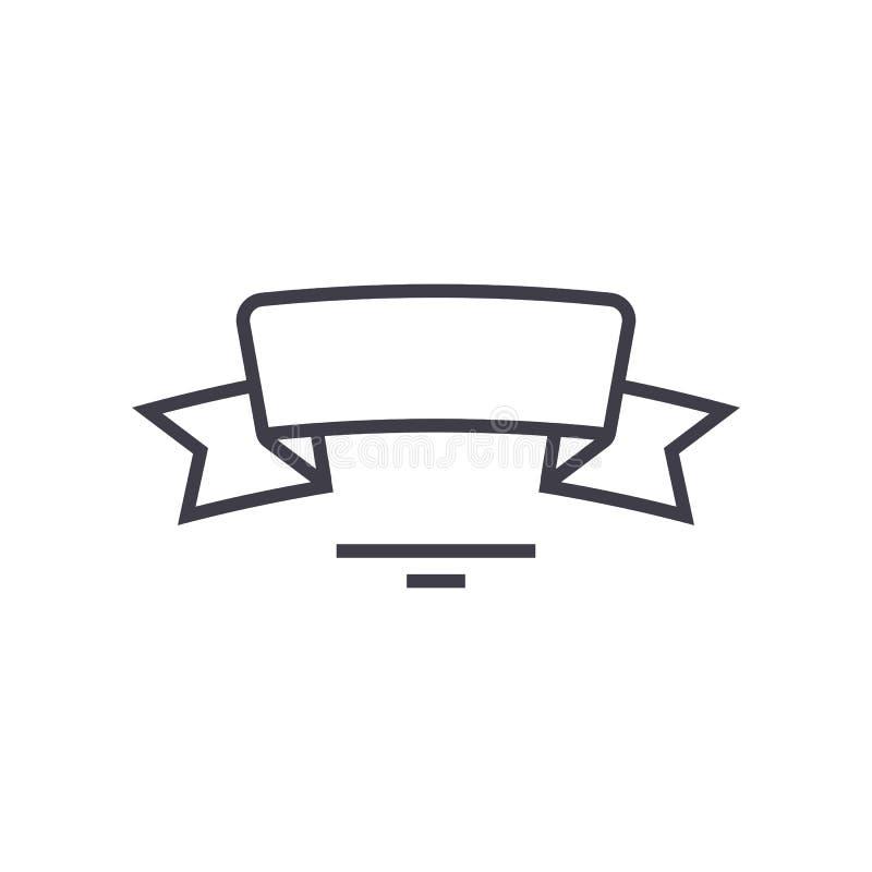 Ленты с круглыми углами vector линия значок, знак, иллюстрация на предпосылке, editable ходах бесплатная иллюстрация