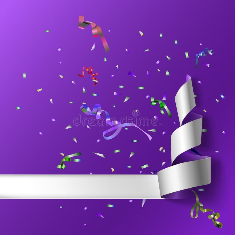 Ленты с confetti иллюстрация штока