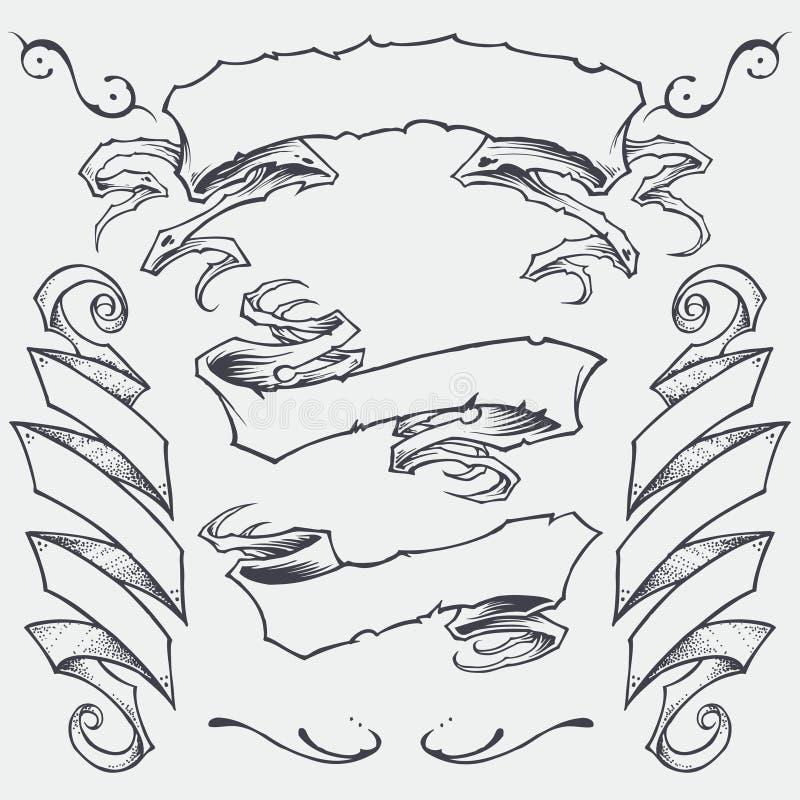 Ленты установили 01 иллюстрация вектора
