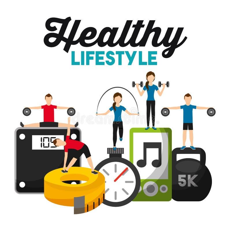 Ленты штанги масштаба веса фитнеса людей образ жизни музыки sporty измеряя здоровый иллюстрация штока