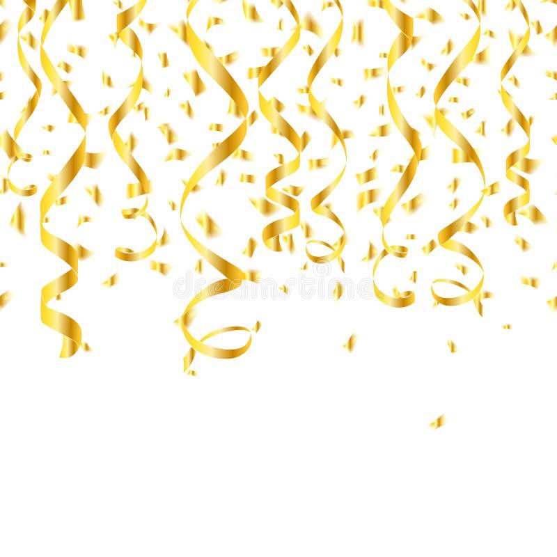 Ленты confetti партии золотые бесплатная иллюстрация