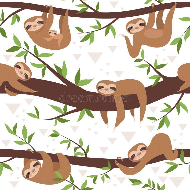 Лень безшовная Концепция вектора смертной казни через повешение семьи картины ткани милого маленького сонного младенца животная иллюстрация вектора