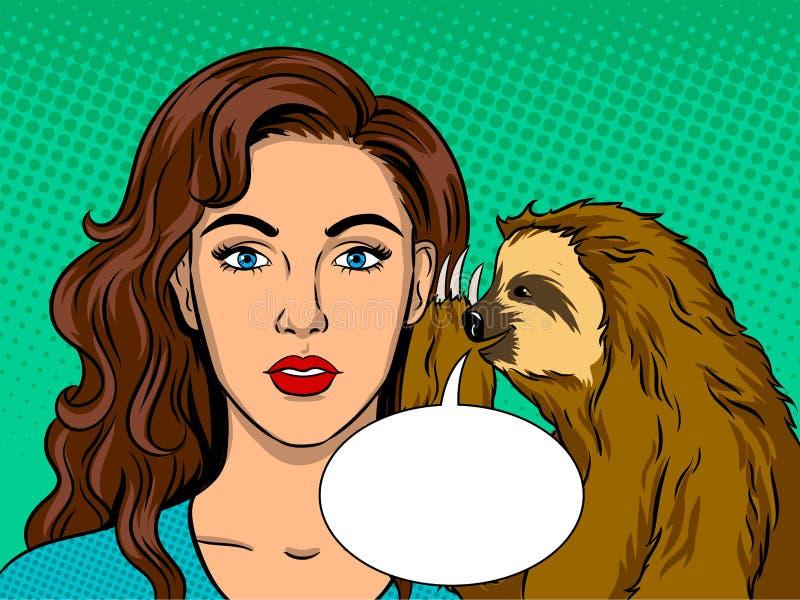 Лень разговаривая с вектором искусства шипучки девушки бесплатная иллюстрация