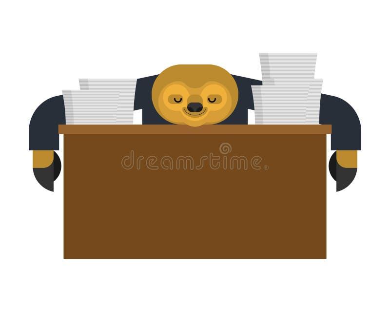 Лень спать на работе lazybones на таблице животный бизнесмен мультфильма также вектор иллюстрации притяжки corel бесплатная иллюстрация