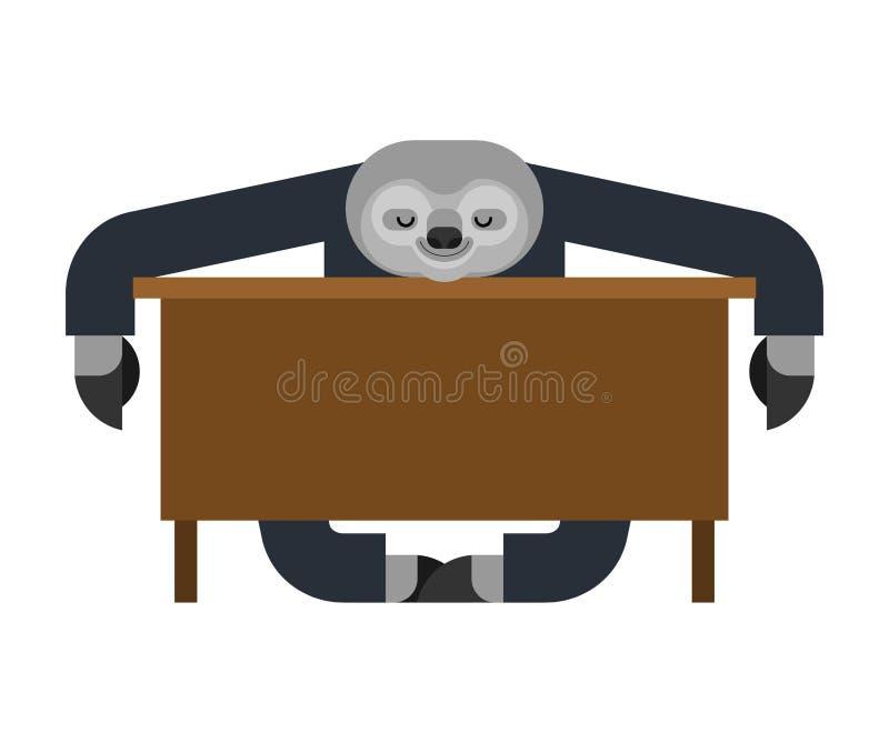 Лень спать на работе lazybones на таблице животный бизнесмен мультфильма также вектор иллюстрации притяжки corel иллюстрация вектора