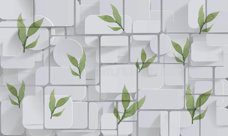 Лепестки на стене Обои фото для интерьера перевод 3d стоковое фото rf