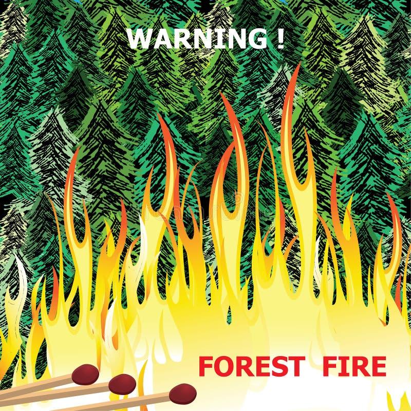 Лесной пожар, дерево лесного пожара горящее в красном и оранжевом векторе цвета иллюстрация штока