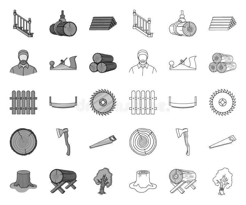 Лесопилка и тимберс mono, значки плана в установленном собрании для дизайна Сеть запаса символа вектора оборудования и инструмент иллюстрация штока