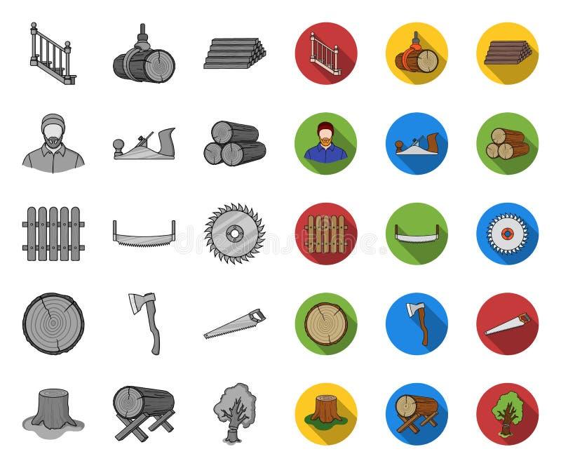 Лесопилка и тимберс mono, плоские значки в установленном собрании для дизайна Иллюстрация сети запаса символа вектора оборудовани бесплатная иллюстрация
