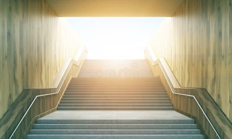 Лестница водя к солнечности иллюстрация вектора