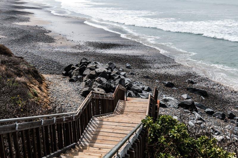 Лестница водя к южному пляжу положения Карлсбада стоковые изображения rf