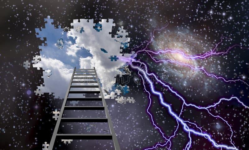 Лестница, который нужно продырявить в ночном небе показывает небеса дня иллюстрация вектора