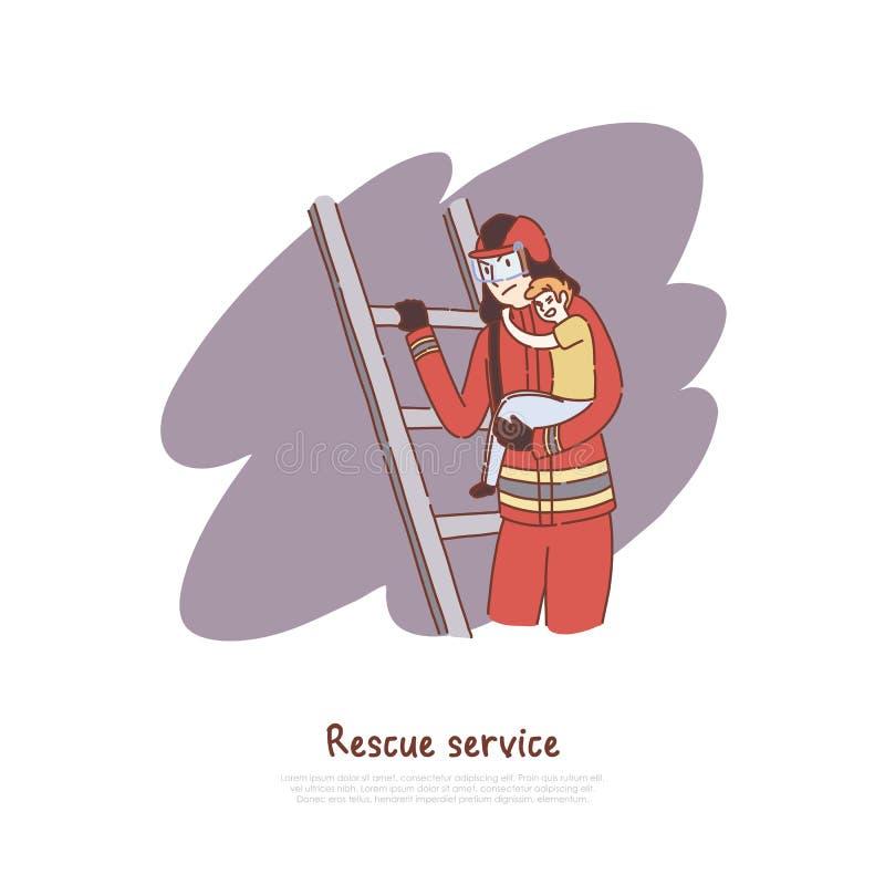 Лестница отважного пожарного взбираясь, огнетушитель помогая меньшему вспугнутому мальчику, противопожарному знамени обслуживания иллюстрация вектора