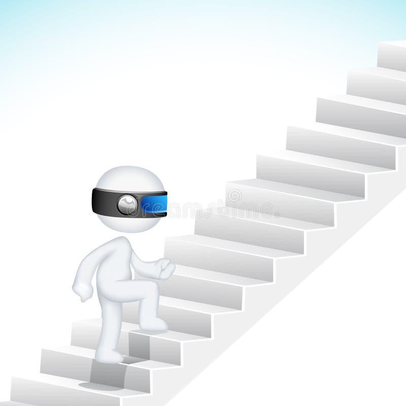 лестница человека дела 3d взбираясь иллюстрация штока