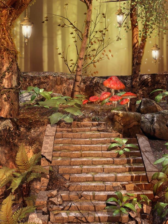 Лестницы в лесе бесплатная иллюстрация
