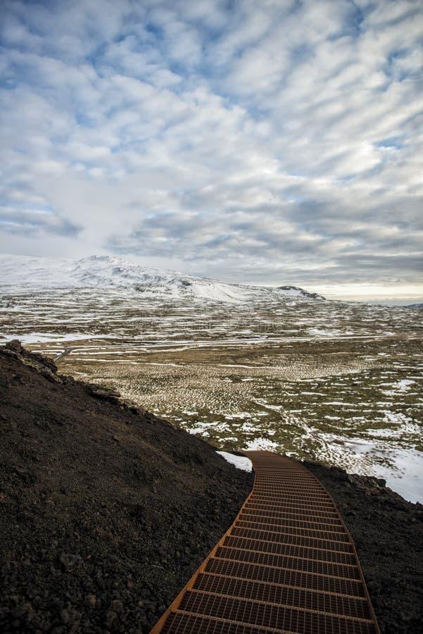 Лестницы в исландском вулкане стоковые фотографии rf