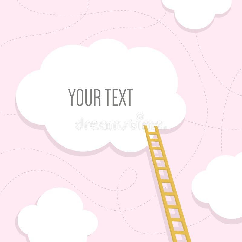 Лестницы к облаку с местом текста шаблон для вас дизайн также вектор иллюстрации притяжки corel бесплатная иллюстрация