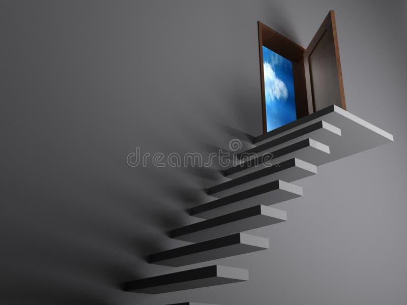 Лестницы к свободе - переводу 3D иллюстрация штока