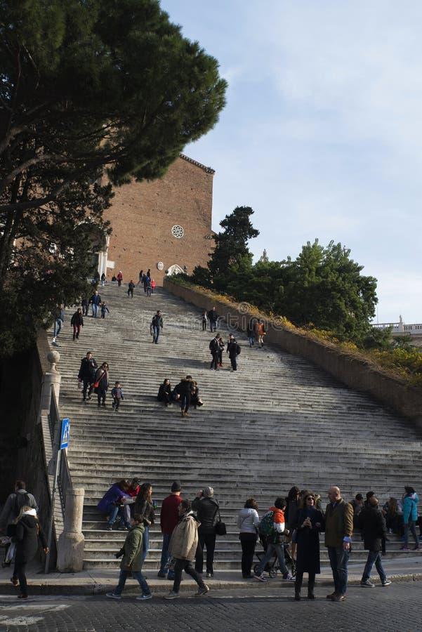 Лестницы к церков Santa Maria в Araceli стоковая фотография rf