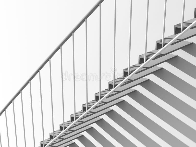 лестницы металла 3d с тенью над белой стеной иллюстрация вектора