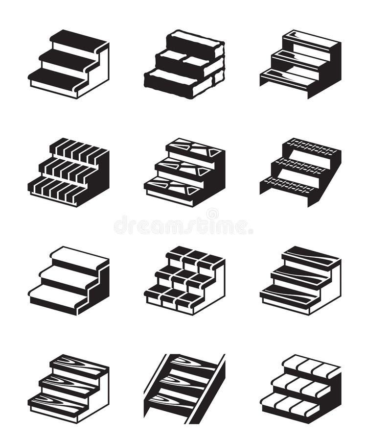 Лестницы металла, древесины и камня иллюстрация вектора