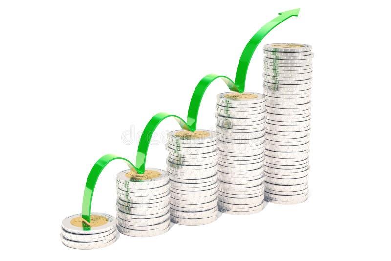 Лестницы от 2 монеток евро с ростом зеленеют стрелку, перевод 3D иллюстрация штока