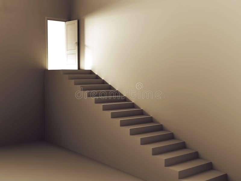 лестницы света двери к бесплатная иллюстрация