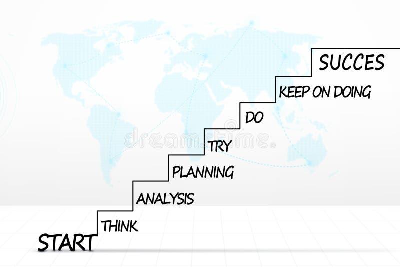 Лестницы с планом стратегии и картой мира иллюстрация вектора