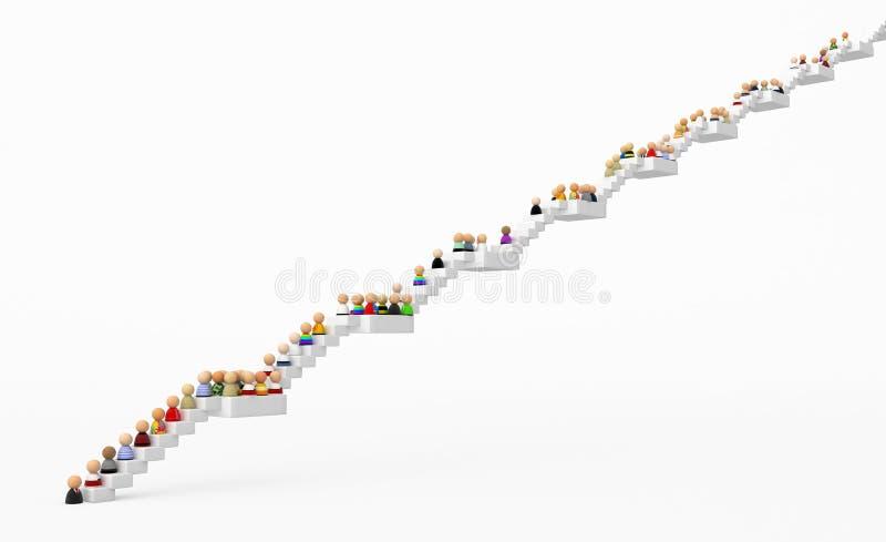 лестницы толпы шаржа высокие иллюстрация штока