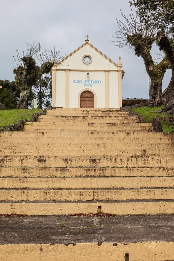 Лестницы часовни Sant Питера - каменного пути - бенто Goncalves - RS стоковое фото rf