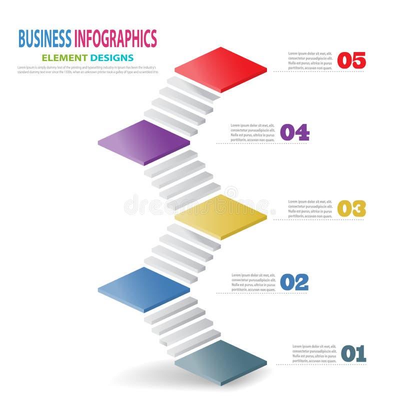 Лестницы шаблона 3D дела Infographics со стрелкой иллюстрация штока