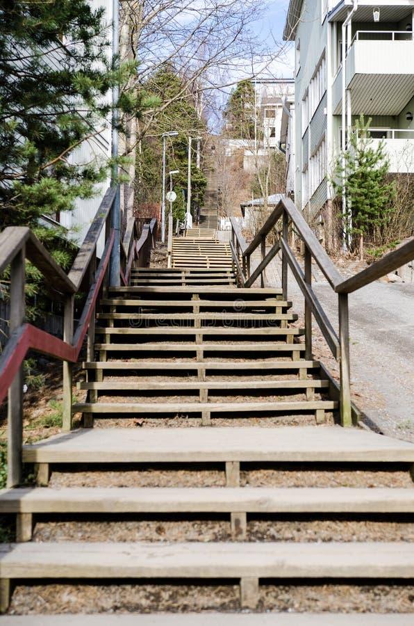 Лестницы Pispala в Тампере Финляндии стоковые изображения rf