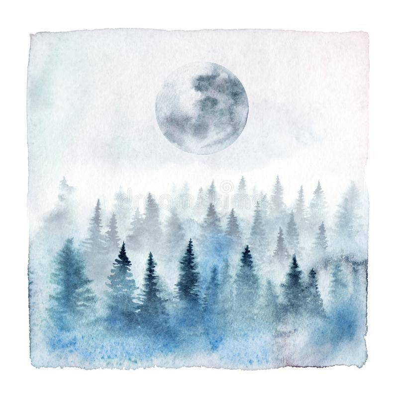 Лес акварели с полнолунием иллюстрация штока