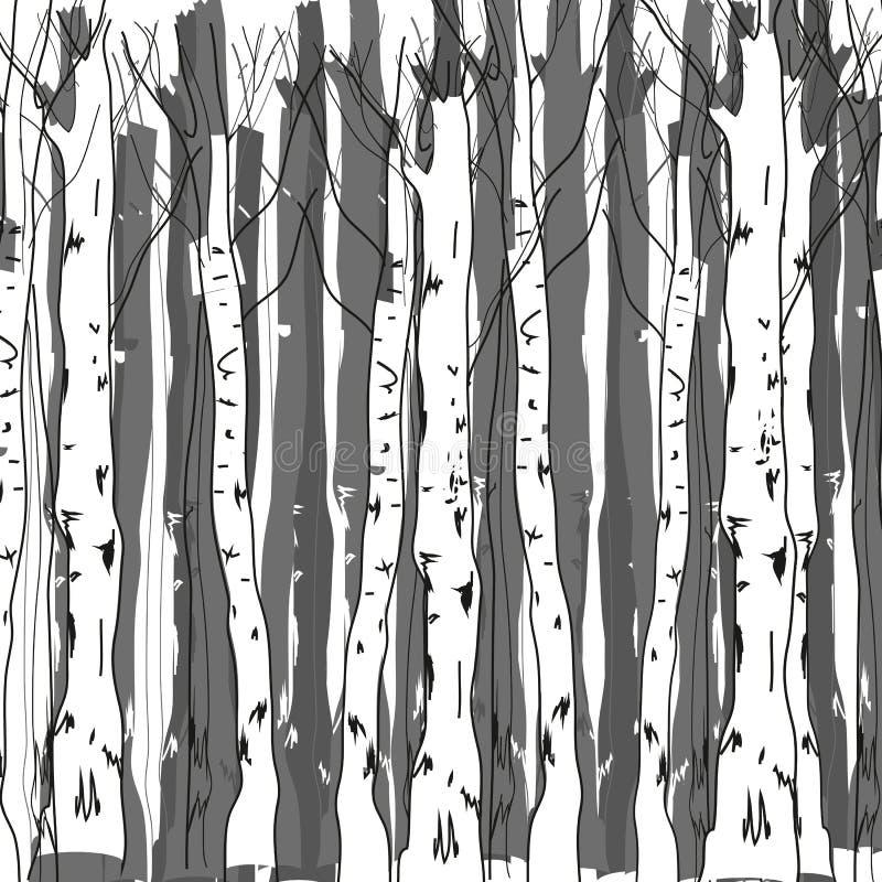 Лес березы иллюстрация вектора