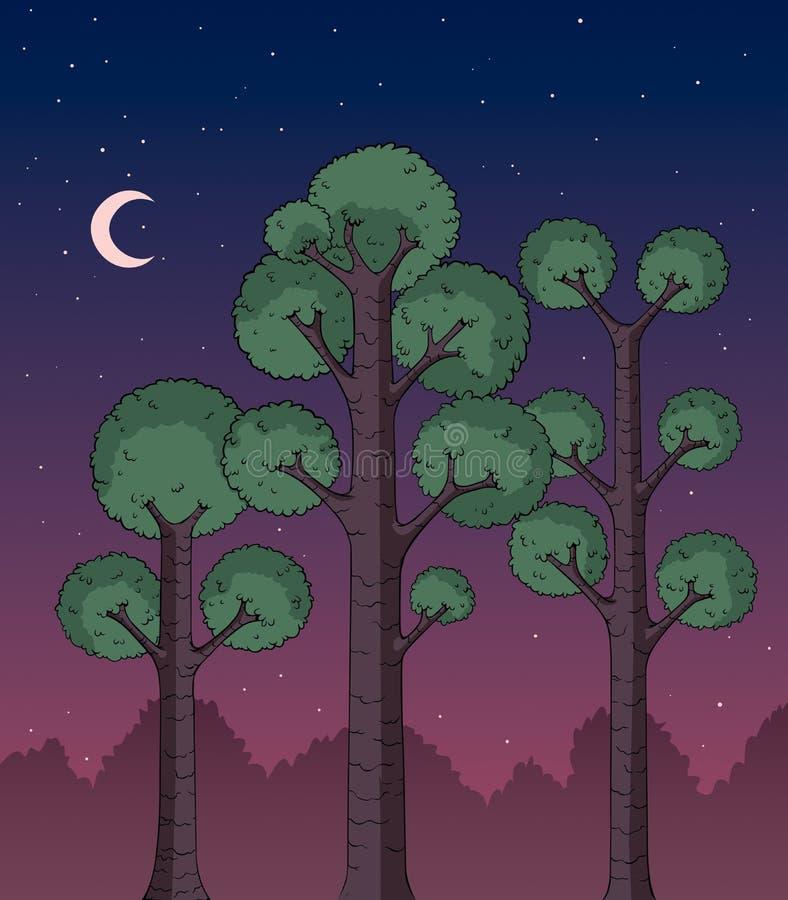 Лес вечером иллюстрация штока