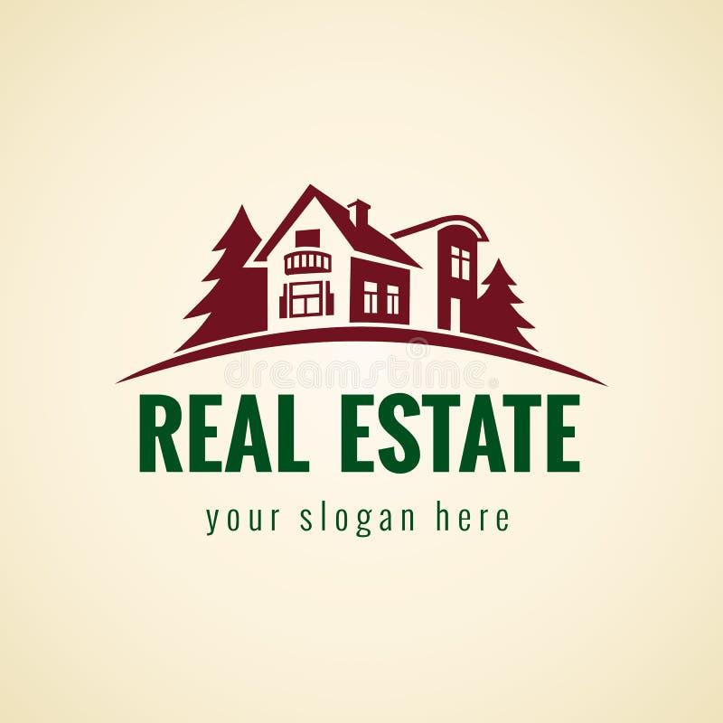 Лес логотипа недвижимости иллюстрация вектора