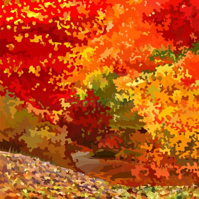 Лес осени абстракции предпосылки яркий красочный лиственный иллюстрация вектора