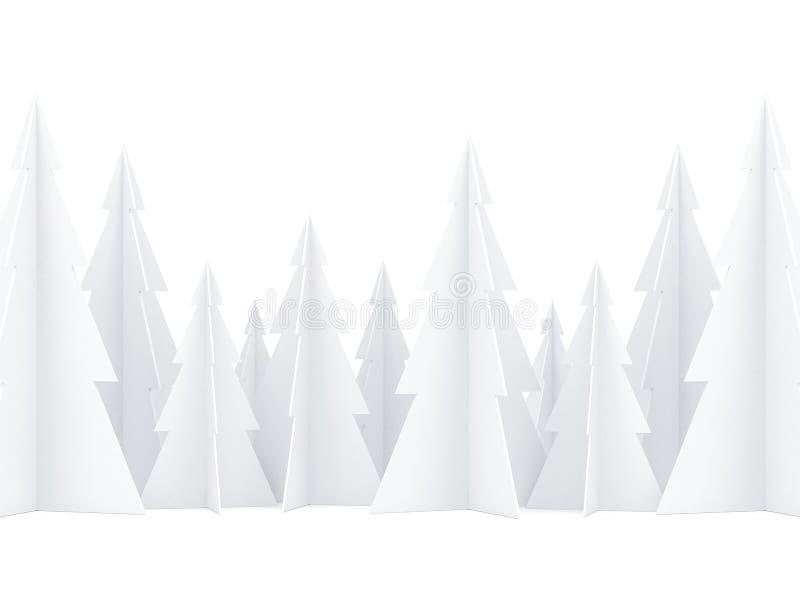 Лес рождественской елки белой бумаги на белой предпосылке для поздравительной открытки иллюстрация штока