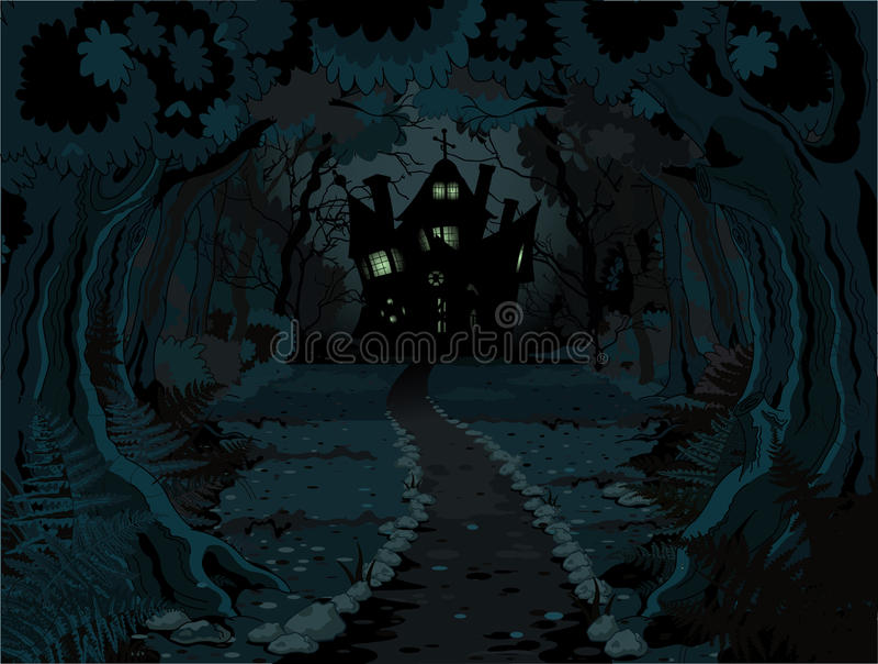 Лес хеллоуина иллюстрация штока