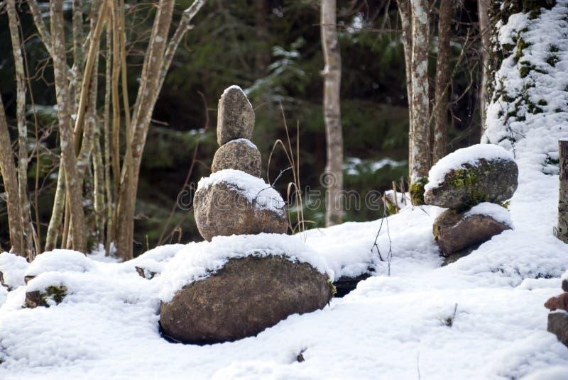 Лес Pokaini в зиме latvia Каменные пирамиды стоковое фото