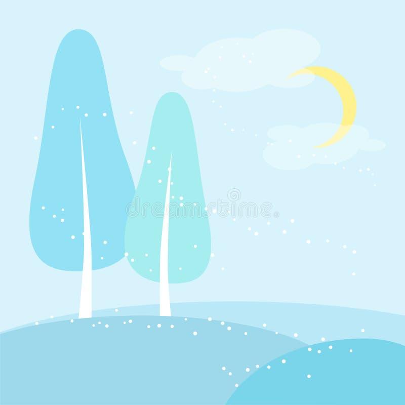 Лес Snowy с березами в векторе зимы иллюстрация штока