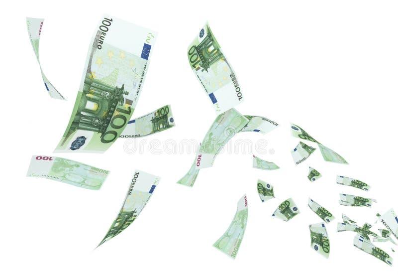 Летание банкноты евро 100 бесплатная иллюстрация