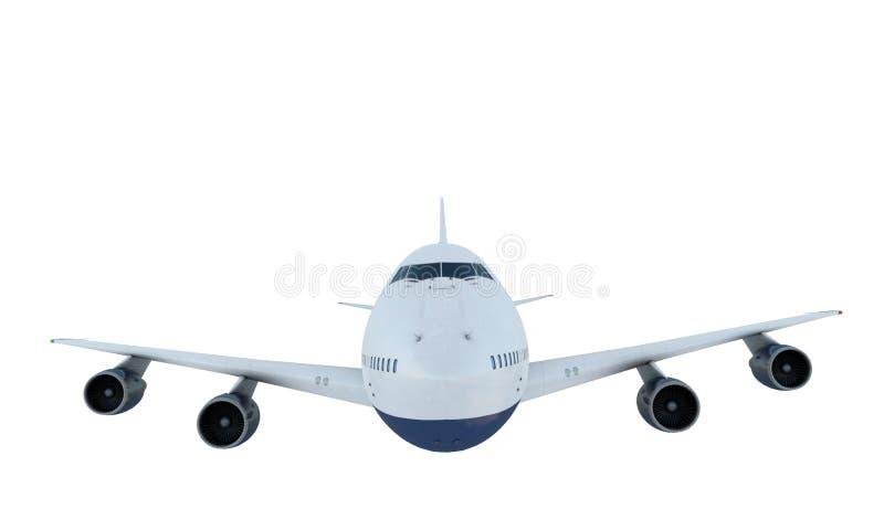 Летание белого самолета Самолет Боинг 747 изолят стоковая фотография rf